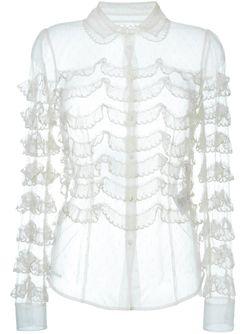 Прозрачная Рубашка С Рюшами Red Valentino                                                                                                              Nude & Neutrals цвет