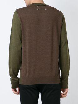 Свитер Дизайна Колор-Блок Maison Margiela                                                                                                              зелёный цвет
