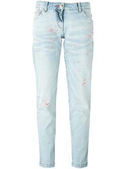 Джинсы-Бойфренды С Брызгами Краски Philipp Plein                                                                                                              синий цвет