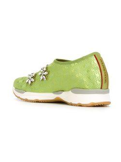 Декорированные Кроссовки С Кристаллами Philippe Model                                                                                                              зелёный цвет