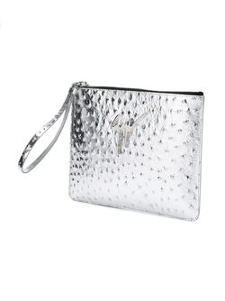 Клатч Из Страусиной Кожи Giuseppe Zanotti Design                                                                                                              серебристый цвет