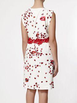 Платье С Принтом Губ GIAMBA                                                                                                              белый цвет