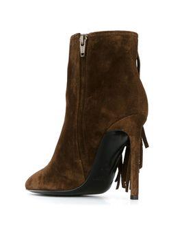 Сапоги На Шпильках С Бахромой Saint Laurent                                                                                                              коричневый цвет