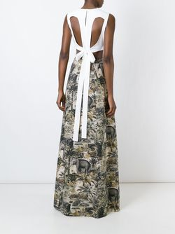 Вечернее Платье С Принтом Джунглей No21                                                                                                              черный цвет
