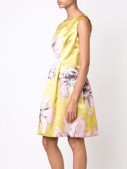 Расклешенное Платье С Цветочным Принтом Lela Rose                                                                                                              желтый цвет