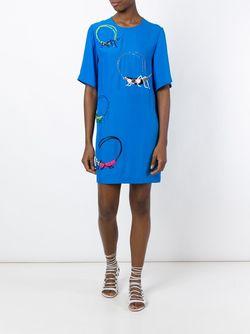 Декорированное Платье-Шифт Emilio Pucci                                                                                                              синий цвет