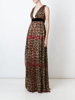 Crepe Leopard Print Gown Dsquared2                                                                                                              коричневый цвет