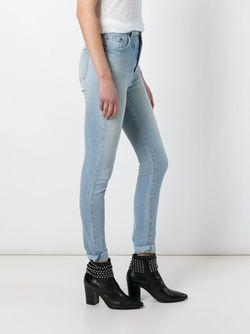Выбеленные Джинсы Кроя Скинни Saint Laurent                                                                                                              синий цвет