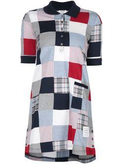 Лоскутное Платье-Рубашка Thom Browne                                                                                                              синий цвет