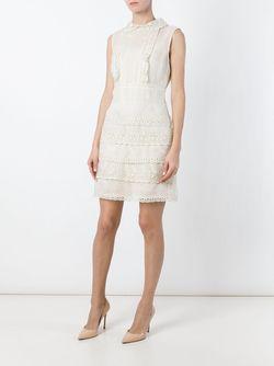 Кружевное Платье С Оборками Red Valentino                                                                                                              белый цвет
