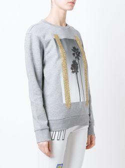 Palm Tree Print Sweatshirt PALM ANGELS                                                                                                              серый цвет