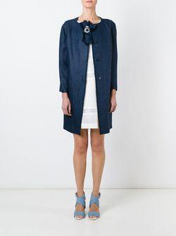 Пальто С Брошью Ermanno Scervino                                                                                                              синий цвет