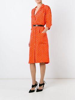Платье-Рубашка С Узором В Горох Emanuel Ungaro Vintage                                                                                                              желтый цвет