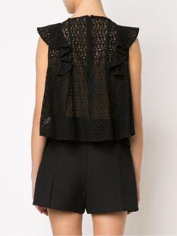 Кружевная Блузка С Оборками Rebecca Minkoff                                                                                                              черный цвет