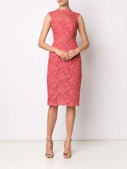 Кружевное Платье-Футляр Monique Lhuillier                                                                                                              красный цвет