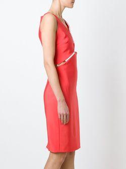 Платье С Декоративным Жемчугом Mugler                                                                                                              красный цвет