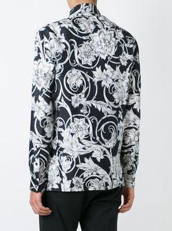 Рубашка С Цветочным Принтом Versace                                                                                                              черный цвет