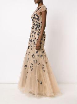 Вечернее Платье С Вышивкой Carolina Herrera                                                                                                              Nude & Neutrals цвет