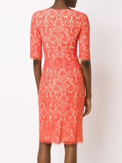 Кружевное Платье-Футляр Carolina Herrera                                                                                                              красный цвет