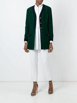 Пальто С V-Образным Вырезом Chanel Vintage                                                                                                              зелёный цвет