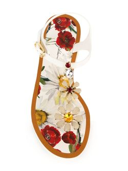 Flower Embellished Flat Sandals Dolce & Gabbana                                                                                                              белый цвет
