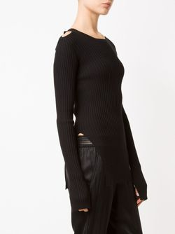 Cut-Out Detail Ribbed Jumper MM6 by Maison Margiela                                                                                                              чёрный цвет