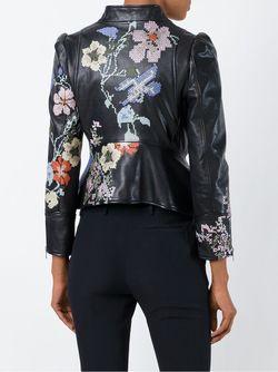 Байкерская Куртка С Вышивкой Alexander McQueen                                                                                                              черный цвет