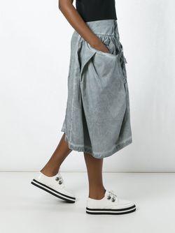 Button Detail Ruffled Skirt Rundholz                                                                                                              серый цвет