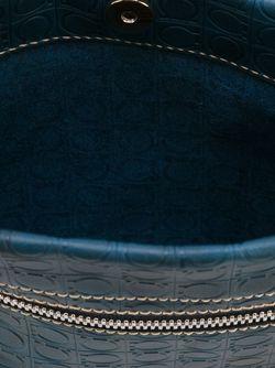 Сумка-Почтальонка С Тисненым Узором Gancio Salvatore Ferragamo                                                                                                              синий цвет