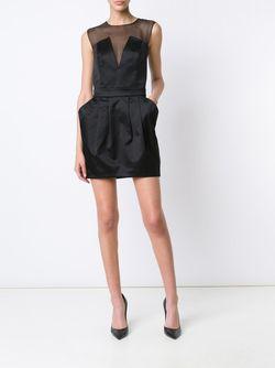 Приталенное Полупрозрачное Мини-Платье Pierre Balmain                                                                                                              черный цвет