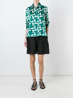 Geometric Print Pyjama Shirt FOR RESTLESS SLEEPERS                                                                                                              зелёный цвет