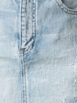 Джинсовые Шорты С Потертой Отделкой Saint Laurent                                                                                                              синий цвет