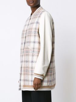 Удлиненная Куртка-Бомбер В Клетку Chloe                                                                                                              белый цвет