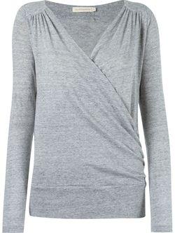 Longsleeved Cache-Coeur Blouse GIULIANA ROMANNO                                                                                                              серый цвет
