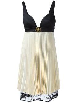Плиссированное Декорированное Платье Fausto Puglisi                                                                                                              черный цвет