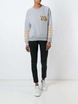 Brand Initials Embroidered Sweatshirt PALM ANGELS                                                                                                              серый цвет