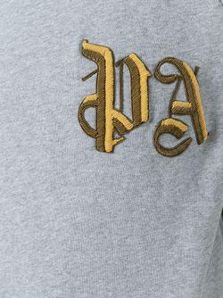Brand Initials Embroidered Sweatshirt PALM ANGELS                                                                                                              серый цвет