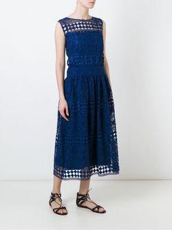 Кружевное Платье Миди С Вышивкой Philosophy di Lorenzo Serafini                                                                                                              синий цвет