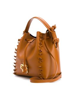 Knot-Trimmed Cross Body Bucket Bag Paula Cademartori                                                                                                              коричневый цвет