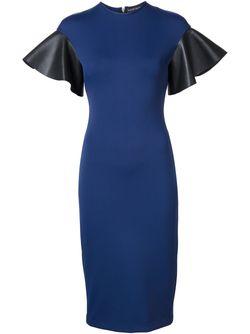 Leather Sleeves Dress David Koma                                                                                                              синий цвет