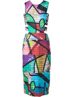Grafitti Print Dress Nicole Miller                                                                                                              чёрный цвет