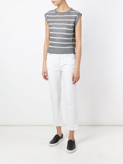 Striped Speckled Sequins Knitted Tank Brunello Cucinelli                                                                                                              серый цвет