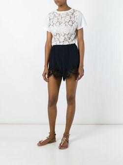 Lace Hem Mini Shorts Chloe                                                                                                              синий цвет