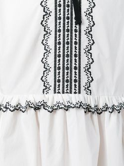 Embroidered Semi-Sheer Dress Red Valentino                                                                                                              белый цвет
