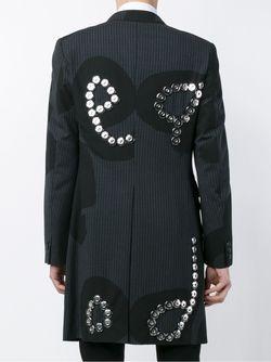 Полосатое Пальто С Аппликацией COMME DES GARCONS HOMME PLUS                                                                                                              серый цвет