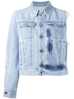 Asymmetric Frayed Button Up Denim Jacket MM6 by Maison Margiela                                                                                                              синий цвет