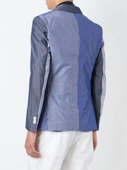 Patchwork Stripe Blazer WOOSTER + LARDINI                                                                                                              синий цвет