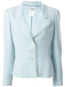 Трикотажный Пиджак Букле Chanel Vintage                                                                                                              синий цвет