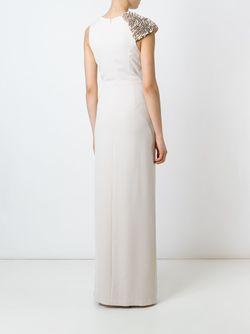 Платье С Оборками Без Рукавов Halston Heritage                                                                                                              Nude & Neutrals цвет