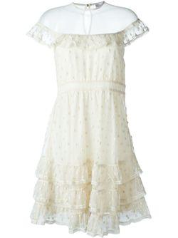 Тюлевое Платье С Рюшами Red Valentino                                                                                                              Nude & Neutrals цвет